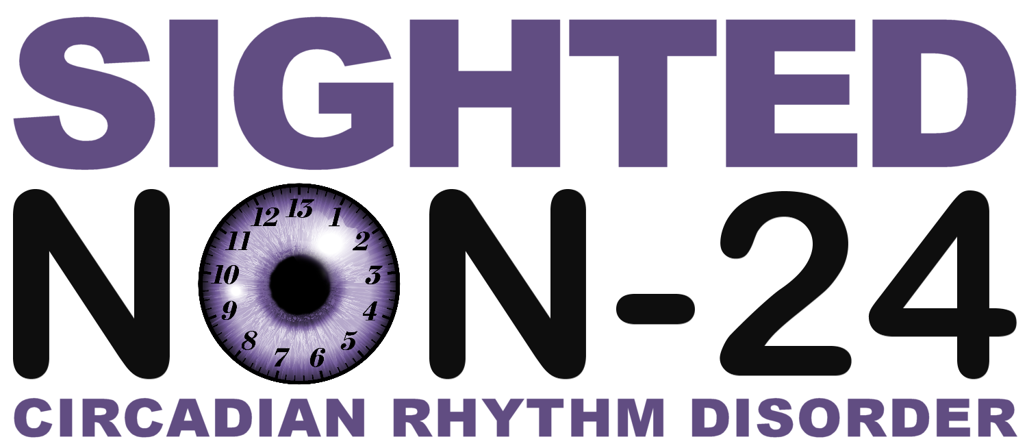 Sighted Non-24 Circadian Rhythm Disorder Logo with O in Non-24 as an eyeball with a clock with 13 hours